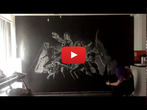 Timelapse of Guardians of the Galaxy Chalk Drawing